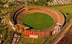 An aerial view of the MCG in the Melbourne Cup, Melbourne Victoria, Victoria Australia, Exhibition Building, St Kilda, Football Stadiums, Landscape Photos, Aerial View, Old Photos