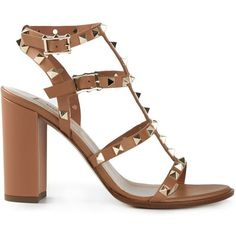 Valentino Garavani 'Rockstud' sandals (1 405 AUD) ❤ liked on Polyvore featuring shoes, sandals, brown, block heel sandals, ankle strap shoes, ankle tie sandals, brown leather shoes and leather shoes