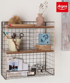 Make storage work around you. Use industrial style accessories with open shelving for when you want to show off your favourite pieces. Product shown is the Argos Home Highlands Wire Wall Shelving Cube Shelves, Small Shelves, Floating Shelves, Metal Walls, Wood And Metal, Wall Shelving Units, Open Shelving, Wall Mounted Shelves, Uni Room
