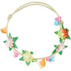 Accessorize Flower Garland Bracelet ($6) ❤ liked on Polyvore featuring jewelry, bracelets, flower jewelry, star bangle, cord bracelet, star jewelry and rope bracelet