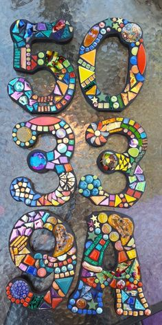 Custom mosaic house numbers by Tina  @ Wise Crackin Mosaics