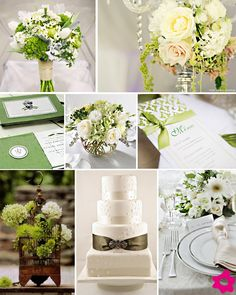 white and green wedding decoration. Not sure if green will blend too much with the trees outside. Maybe we shoudl go for another color, like blue. But we have blue in Brazil already. Do we want a different color?