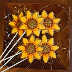 Sunflower Cookie Pops | I procrastinated and started a day l… | Flickr
