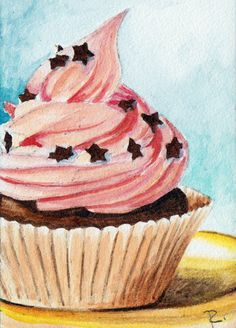 """pink icing, chocolate stars, ACEO  2.5 x 3.5"""" watercolor on aquabord  $40"""