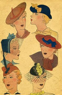 Six stylish 1930s hats.