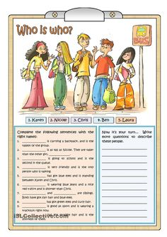 Who is who. ESL / EFL / ESOL game for practicing descriptions, comparatives and…