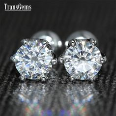 TransGems 0.6 TCW Carat Lab Grown Moissanite Diamond Push Back Stud Earrings Solid White Gold for Women Wedding Birthday