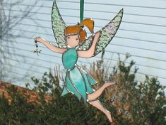 Stained glass fairy suncatcher green outdoor by ClearerImage #StainedGlassFairy