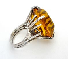 Huge Citrine Sterling Silver Ring Glass Stone Vintage Fashion Statement Jewelry #Solitaire