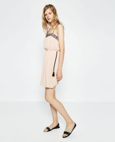 Image 1 of EMBROIDERED NECKLINE DRESS from Zara
