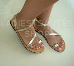 Genuine Greek Leather Sandals, Gold  Sandals,Leather Sandals With Gold Décor, Womens Sandals, Strap Sandals, Summer Sandals.