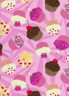 Timeless Treasures fabric from the USA with cupcakes with candle, cherry, sprinkles Cute Backgrounds, Cute Wallpapers, Wallpaper Backgrounds, Cupcake Candle, Cupcake Art, Cupcake Drawing, Cupcake Boxes, Happy Birthday Cupcakes, Pink Cupcakes