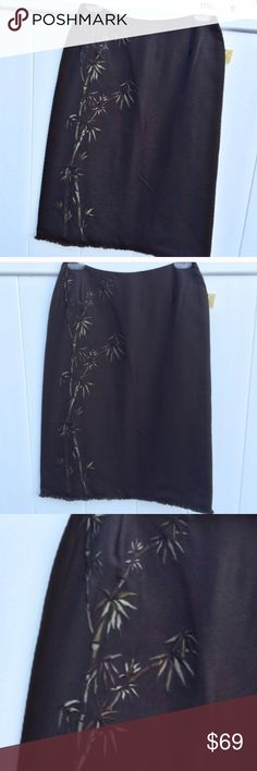 "NWT Anne Klein 100% Silk Brown Pencil Skirt 2P Brand new with tag! 100% Silk, Bamboo design, Measures 13"" waist across and 24.5"" waist to hem, size 2 petite, zipper in back, black line through tag is the only imperfection Anne Klein Skirts Pencil"
