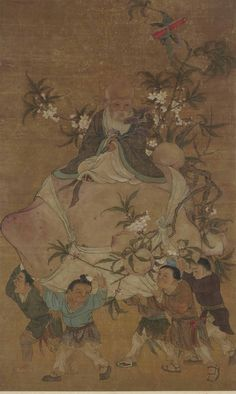 A FRAMED AND GLAZED PAINTING DEPICTING SHOULAO, INK AND COLOUR ON SILK - CHINA, QING DYNASTY, 19TH CENTURY