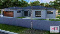 3 Bedroom House Plan – My Building Plans South Africa 3 Bedroom Bungalow, Bedroom House Plans, House Floor Plans, Tuscan House Plans, Single Storey House Plans, Fancy Houses, Double Garage, Open Plan Living, Building Plans
