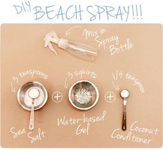 DIY Beach Spray - I just did this and it came out great! Perfect beach waves! Bear this in mind...the picture shows one amount of the ingredients, but the blog types out another amount. It says to use an 8-10oz bottle, but I only had a 6oz one, so I went with the smaller amount listed in the picture. Came out just fine. And my hair smells fantastic!
