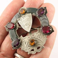 Big Antique Victorian sterling silver Scottish agate gemstone brooch pin