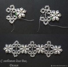 Beaded Bracelets Tutorial, Handmade Bracelets, Handmade Jewelry, Bead Jewellery, Seed Bead Jewelry, Beaded Jewelry Patterns, Beading Patterns, Lace Bracelet, Beaded Christmas Ornaments