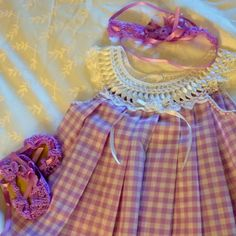 Crochet Baby Dress, Sandals & Head Band made by artisan  in Old San Juan