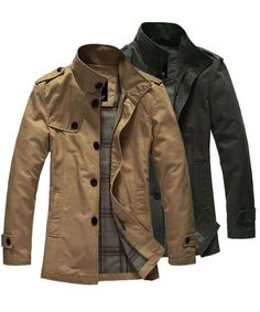 Khaki Single Breasted Green Business Casual Men Wind Coat M/L/XL/XXL 416A520ka : $45.59 with free shipping in Maxnina