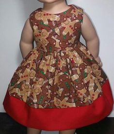 Doll Clothes/Handmade/18 Inches/American Girl Dolls/Ginger Bread Cookies Dress. #Handmade