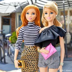 Patterns, prints, and a pop of pink! What do you think of our style?  #barbie #barbiestyle