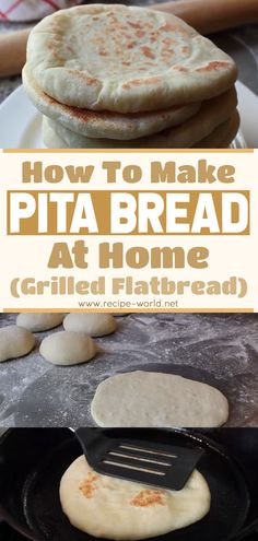 Pita bread is a slightly puffed flatbread that originates from Mesopotamia. It is also called Arabic bread, Syrian bread, and Lebanese bread. Pita is used in many Middle Eastern. Pita Recipes, Healthy Bread Recipes, Flatbread Recipes, Banana Bread Recipes, Greek Recipes, Baking Recipes, Healthy Pita Bread, Homemade Pita Bread, Health Recipes
