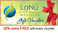 Time to treat your someone special with exciting gift voucher this #Christmas and enjoy a festive 25% extra free with every voucher at LaNu Medi Spa. Choose from a wide range of beauty, spa and medi treatments. Some of great options can be excellent skin rejuvenator body wraps, effective cellulite treatments for toned body, luxury beauty treatments, ultimate spa treatments, anti wrinkle removal treatments, Hd-brows and lot more to choose from. Beauty Spa, Luxury Beauty, Christmas Salon, Vein Removal, Spa Specials, Hd Brows, Christmas Offers, Body Wraps