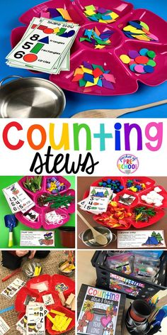 What students are learning when playing Counting Stews! A hands on counting game perfect for preschool, pre-k, and kindergarten. How to create them, how to implement them, and what students are learning. Counting Activities, Preschool Classroom, Kindergarten Math, Toddler Activities, Preschool Activities, Number Games Preschool, Number Activities, Counting On, Hands On Learning Kindergarten