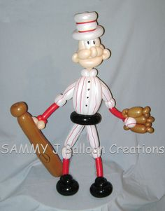 Balloon baseball player - Take Me Out to the Ball Game!  www.sammyjballoons.com/