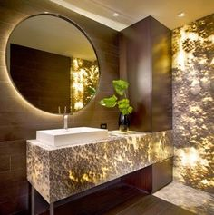 Backlit stone feature wall, \
