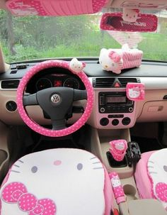 Details about new hello kitty car accessories complete set car
