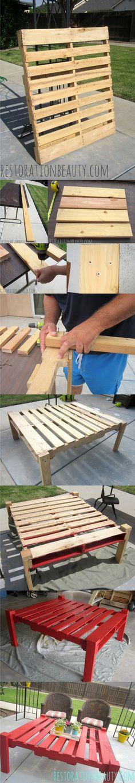 Mesa DIY con un palé - restorationbeaty.com - DIY Outdoor Table From A Pallet