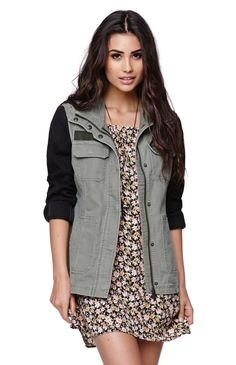 Pac sun military jacket with flirty dress and boots Fall Fashion Trends, Autumn Fashion, Pacsun Outfits, Lifestyle Clothing, Sweater Weather, Military Jacket, High Fashion, Cute Outfits, Utility Jacket