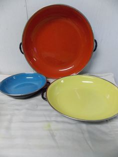 Vintage Enamel Pans  Mid Century Cookware  by PfantasticPfinds