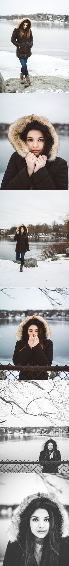 Snowy High School Senior Portraits | Posing and Styles in Fur Winter Coat | Elizabeth Clark Photography, Boston MA
