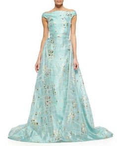 Gold-Flecked Brushstroke-Print Overskirt Trumpet Gown by Christian Siriano at Neiman Marcus.