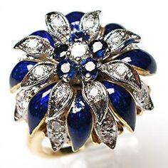 ESTATE DIAMOND BLUE SAPPHIRE & ENAMELED FLOWER COCKTAIL RING SOLID 18K GOLD