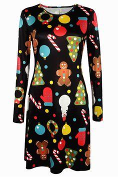 Susi&Rita Autumn Winter Dress Women Long Sleeve Christmas Print Dress 2017 Casual Dresses Plus Size Vestidos Mujer [Visit to Buy] Christmas Print Dresses, Casual Dresses Plus Size, Dress Casual, Gear Best, Long Sleeve Mini Dress, Knee Length Dresses, Loose Dresses, Women's Dresses, Dresses Online