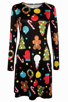 $12.67 Knee Length Christmas Patterned Dress