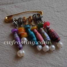 how to make recycled crochet stitch markers... from magazine pages!