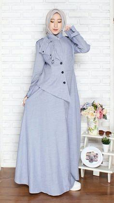 Gamis Hijab Fashion 2016, Abaya Fashion, Muslim Fashion, Women's Fashion Dresses, Gaun Dress, Hijab Evening Dress, Maxi Dress Wedding, Blouse Models, Muslim Dress