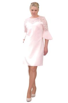 636fce06f6 Elegancka sukienka XXL 40-60 na wesele PAOLA pudrowy róż - XELKA odzież  damska online