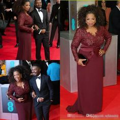 2017 Oprah Winfrey Burgundy Long Sleeves Mother of the Bride Evening Dresses V-Neck Sheer Lace Sheath Plus Size Celebrity Red Carpet Gowns 2017 Red Carpet Prom Gowns Bridal Wedding Gowns Elie Saab Evening Dresses Online with $126.44/Piece on Whiteone's Store   DHgate.com