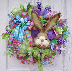 Spring / Easter Wreath / Bunny / Burlap / Purple by JennaBelles