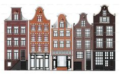 Detailed vector illustration of Amsterdam canal houses