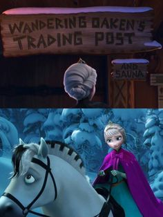 Elsa visiting Oaken's trading post + Elsa on her horse