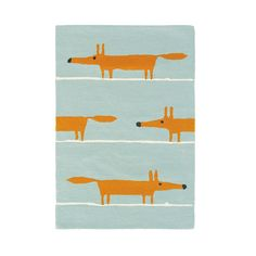 Mr Fox Aqua Large Rug - Scion Rugs - A friendly fox, creating a stripe effect design on the rug. Shown here in the Aqua colourway. Other colourways are available. Large Rugs, Small Rugs, Fabric Wallpaper, Of Wallpaper, Matching Wallpaper, Contemporary Rugs, Modern Rugs, Modern Carpet, Modern Wall