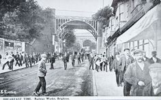 Railwaymen streaming down New England Road on their way to a hurried breakfast, in 1912. They started work at 6 am, and had a break for their breakfast between 8 and 8.30. Most of the men lived quite near to the Works, in such streets as Argyle Road, while others lived in Railway houses in adjoining roads. Brighton East Sussex, Brighton Rock, Brighton England, Brighton And Hove, Old Pictures, Old Photos, Images Of England, Ticket To Ride, Celebrity Travel