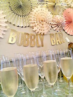 bar at a pink and gold bridal shower party! See more party planning ideas at !Bubbly bar at a pink and gold bridal shower party! See more party planning ideas at ! Gold Bridal Showers, Bridal Shower Party, Bridal Shower Decorations, Bridal Shower Banners, Rose Gold Party Decorations, Bridal Shower Colors, Adult Party Decorations, Bar Decorations, Bridal Shower Backdrop